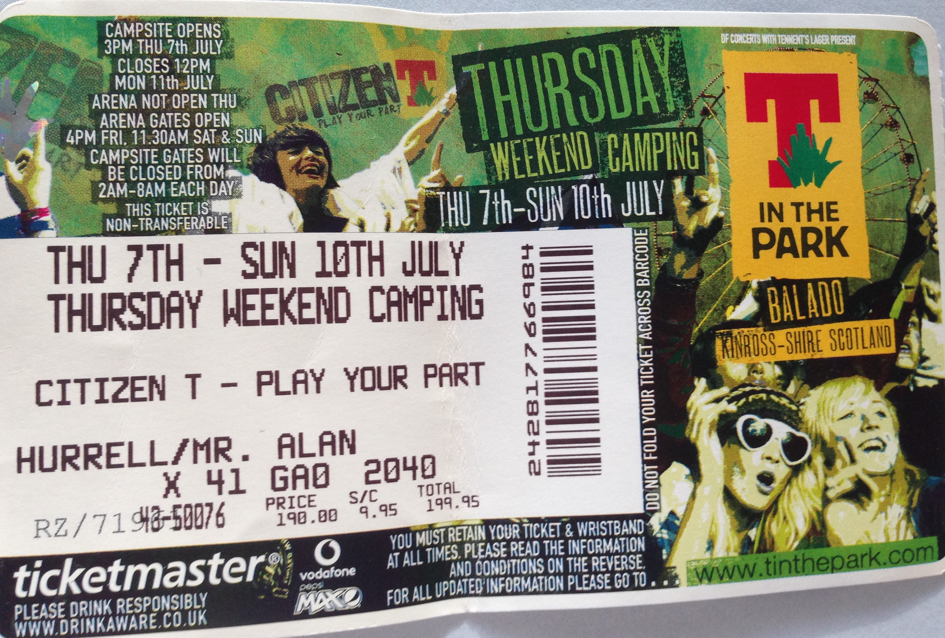 t in the park ticket 2005: